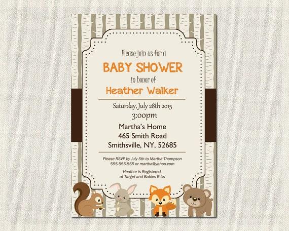baby shower invitation woodland animal theme fox baby invite gender