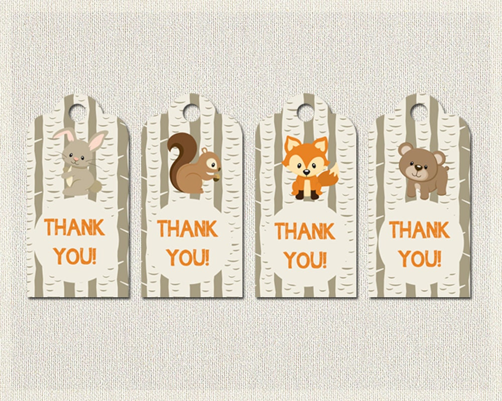 baby shower woodland thank you favor tags woodland shower