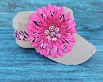 Pink Flower Hat, Bling Flower Hat, Bling Hat, Khaki Hat, Zebra Hat, Distressed Hat, Pool Hat, Frayed Flower Hat, Hot Pink Hat, tammydee