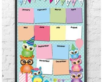 Owls Birthday Calendar Chart (Printable/Digital Download)