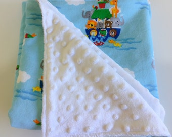 Baby Blanket~Baby Shower Gift~New Mum gift~Pram blanket~Nappy bag~Minky Blanket~Play mat~Animal Blanket~Noah's Ark Blanket