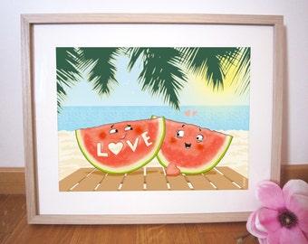 "Art print 40x30 cm ""Love watermelons"""