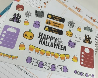 Halloween Planner Stickers with ghosts, pumpkins, and more clipart!