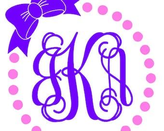 Circle Dot Monogram Decal, Circle Dot Monogram Sticker, Bow Monogram Decal, Circle Dot Custom Sticker, Circle Dot Custom Decal,