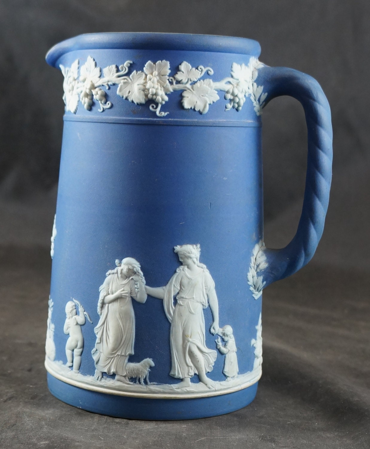 Portland Pitcher: WEDGWOOD Portland Blue Jasperware Milk Pitcher