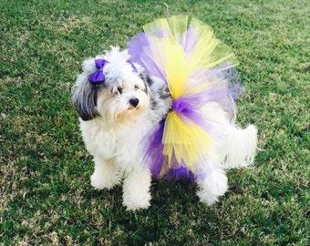Purple and Yellow Dog Tutu,Lakers Dog Tutu, Pet Tutu, Dog Skirt, Dog Clothes, Lakers Tutu, Cute Dog Outfit, Tutu for Dogs,Dog Costume,