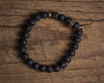 Duty Bracelet, Lava Rock Bracelet, Volcanic Rock Beaded Bracelet, Mens Jewelry, Basalt Bracelet, Mens Bracelet, Mens Jewelry