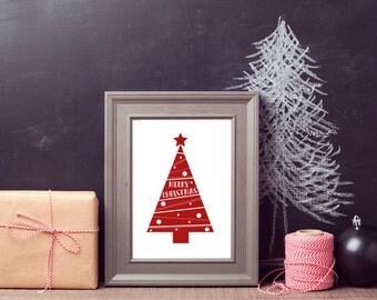 Christmas Printable, Merry Christmas, Merry Christmas Tree, Christmas Printable Art, Christmas prints, Christmas Decor, Digital Downloads
