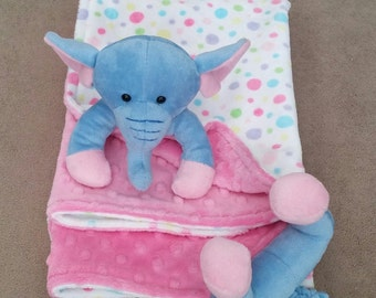 Elephant minky blanket minky baby animal blanket cuddle blanket 24x24 multi dot pink dimple dot