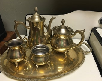 Vintage Tea Set, Gold Wash Silver Plated  Tea Set, 4 Piece Tea Set, Farmhouse Decor, Elegant Dinning, Shabby Chic Decor