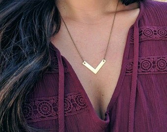 Brass Chevron Necklace, Layering Necklace, Simple Necklace, Dainty Necklace, Every Day Necklace, Geometric Necklace
