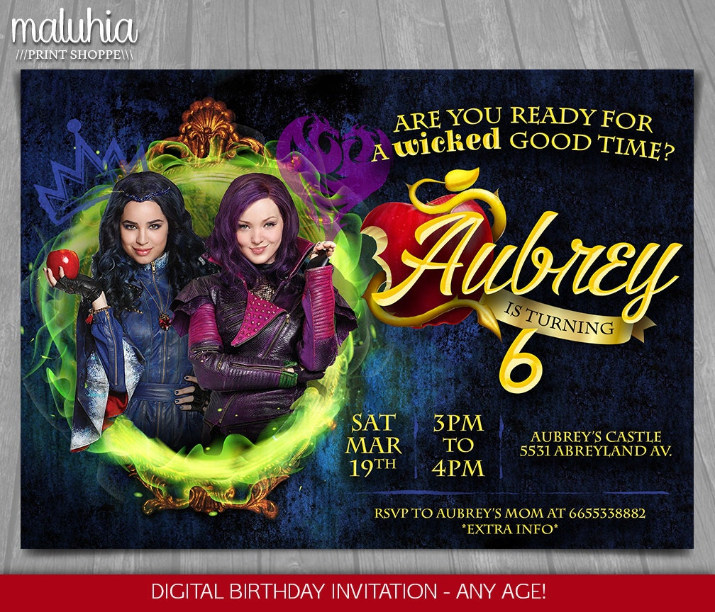 Descendants Invitation Disney Descendants Invite