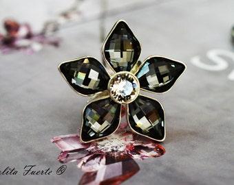 """Silver Ring """"Night flower """""""