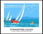 Sailing boats on Strangford Lough - vintage style railway travel poster art of Ireland