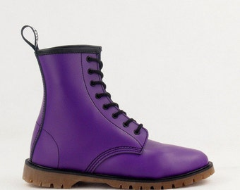 ADIX®  Boots violet handmade leather gothic underground punk derby military ankle boots 8-eyelet vegan