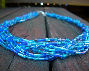 Blue Braided Bead Necklace