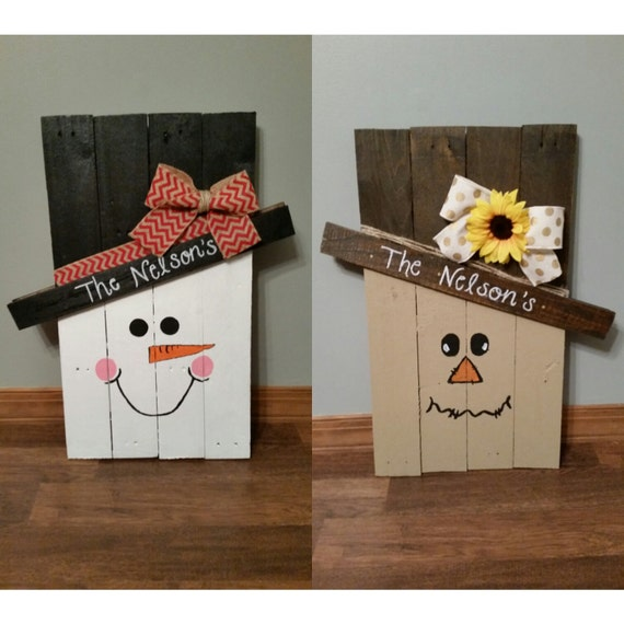 Scarecrow and snowman wooden pallet decoration reversible for How to make a wood pallet snowman
