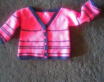 CHILDS Tunisian Stitch Crocheted SCHOOL SWEATER Pattern