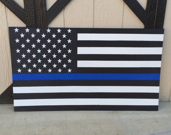 """Wood Hand Painted USA American """"Thin Blue Line"""" Police Flag"""