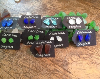 catalina island seaglass stud earrings 9.25