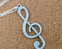 SALE 30 inch silver treble clef necklace, rhinestone music necklace, rhinestone pendant, long pendant necklace, silver music pendant