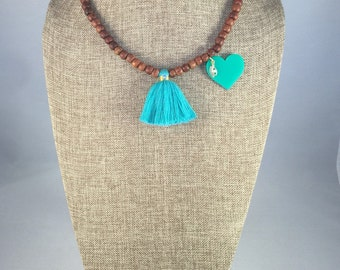 Necklase/Wood Necklase with Cotton Tassel and Charm in gold filled