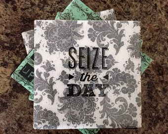 Floral print inspirational quote tile coaster Set of 4