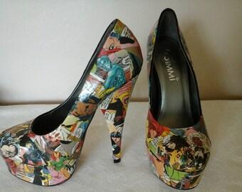 Custom Made ~ Comic Book Shoes ~ Unique