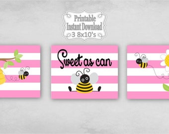 Printable Bumble Bees Baby Nursery Wall Art Decor in Pink Yellow Black Bumblebees Baby Child Kids ~ DIY Instant Download ~ 3 8x10 Prints