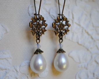 Brass and Pearl Earrings culture glass