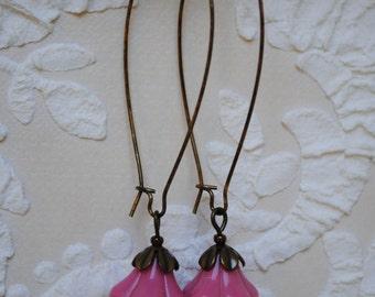 Ears Pink Flower Earrings