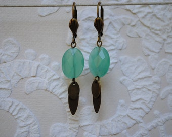 Shuffleboard water green glass earrings
