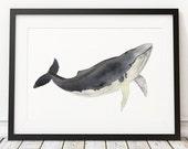 Nautical nursery wall art Whale print Watercolor poster ACW17