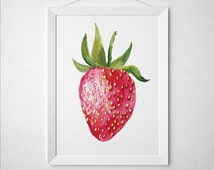Strawberry print Kitchen art Food poster Berry print ACW241