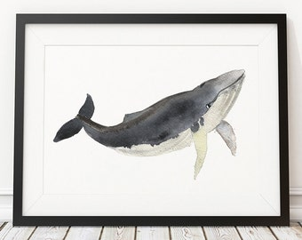 Whale print Watercolor poster Nursery art ACW17