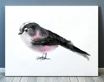 Long tailed tit print Cute bird watercolor Nursery art ACW94
