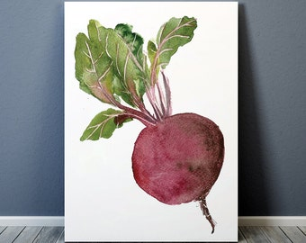 Rustic cabin decor Beetroot poster Kitchen art Watercolor print Vegetable print ACW231