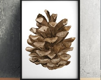Nature print Pine cone art Pine poster Watercolor print ACW922