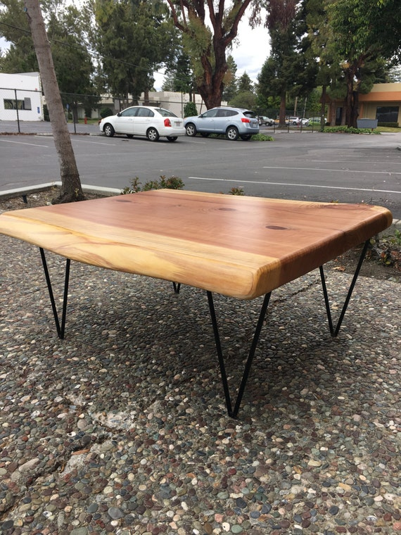 Live Edge Redwood Coffee Table With Hairpin Legs
