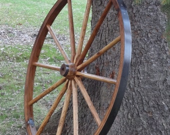 "Rustic Wagon Wheel, Highest Quality, 48"" Tall. Hardwood and Steel. Beautifully finished, and built to last.."
