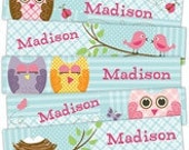 Stocking Filler - Personalized Bookmarks. Quilted Owls Custom Bookmarks for Kids and Adults. Cool Bookmarks. Book Lover Gift Party Favors