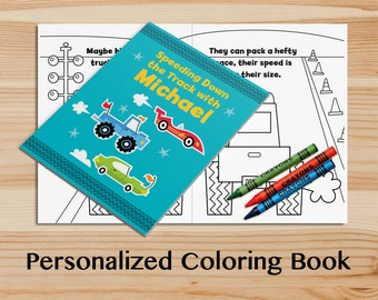 personalized trucks coloring book a custom coloring book with your childs name kids coloring - Custom Coloring Book