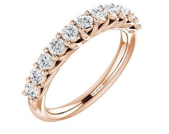 14K Rose Gold Diamond Wedding Band Ring For Women 0.70 Carats Shared Prong Set 11 Stone Anniversary Ring band Half Eternity