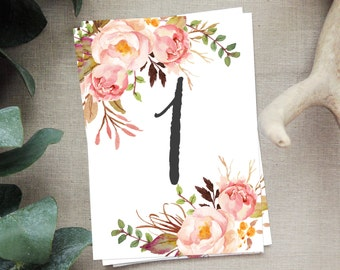 Peony Floral Calligraphy Table Numbers (1-40)