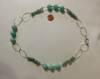 925 Silver necklace with natural stones (agate, aventurine)