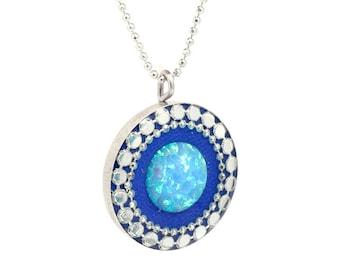 Opal  necklace, Delicate Opal necklace, Blue opal necklace, Sterling silver necklace, Disc necklace, Opal jewelry,Opal necklace silver