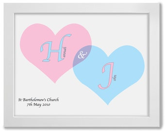 Wedding Gift Idea, Wedding Hearts, Wedding Print, Personalised, Framed, A3, Print - Perfect gift