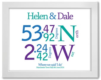 Wedding Gift Idea, Coordinates, Wedding Print, Personalised, A3, Framed, Print - Perfect gift