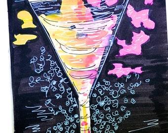 Fashion Print - A glass of bubbly