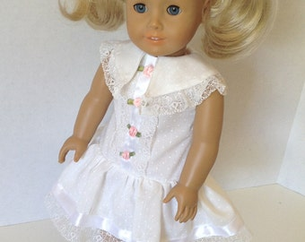 18 Inch Doll Clothes, White Cotton Party Dress, Special Occasion Dress, First Communion, Confirmation